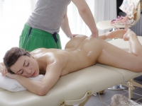 Teen girl gets her sexy body and shaved pussy massaged and fucked by horny masseur
