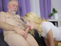 Sexy Helena blows old goes young guy away with her awesome blowjob