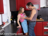 Adorable teen babe gets fucked in the kitchen by creepy old dude