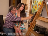 Tricky old art teacher fucks on of his most promising students