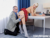 Blondie rewards old teacher for his hard job.