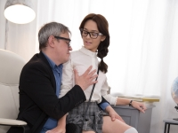 Nerdy brunette in glasses seduces teacher with mini skirt