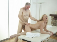 Sexy blondie relaxes her old teacher with massage and blowjob.