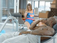 Sindy : Petite white cutie kneels to caress her half-naked black dude : sex scene #4