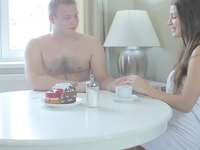 Marina : Sexy Marina sites with her man enjoying coffee and imagining how sexy he is in bed : sex scene #1