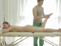 Nina : Sexy Nina lays boobs down on the massage therapists table as he rubs her back : sex scene #4