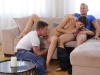 Marisa : Marisa is trying to resist the urge, but getting fondled by these two guys is tempting her. : sex scene #4