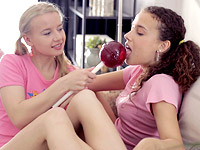 Vasilisa : We loved the lollipops, treats and money we got when she made us lesbians : sex scene #1