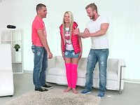 Martina : Spoiled virgins member Martina rocks these guys worlds by sucking their big cocks expertly : sex scene #4
