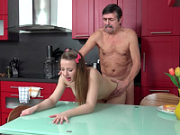 Dana : Steamy sex in the kitchen between young babe and old man : sex scene #9