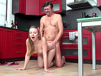 Dana : Steamy sex in the kitchen between young babe and old man : sex scene #10