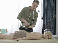 Lolly Small : Blonde gets a sex adventure in massage salon. : sex scene #3