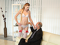 Milena Devi : Old man bangs a sexy babe on the couch. : sex scene #4