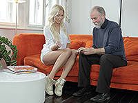 Karol Loilien : Hard-working old man satisfies a blondie. : sex scene #1