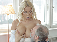 Karol Loilien : Hard-working old man satisfies a blondie. : sex scene #4