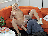 Karol Loilien : Hard-working old man satisfies a blondie. : sex scene #6