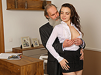 Milana Witch : Lazy brunette uses hot body to seduce her old teacher. : sex scene #2