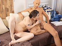 Lizi Vogue : Well-hung stud cums all over a petite brunette. : sex scene #10
