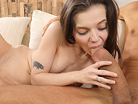 Lizi Vogue : Well-hung stud cums all over a petite brunette. : sex scene #11