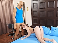 Renata Fox : Kneeled cutie serves a giant dick. : sex scene #5