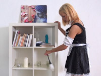 Ria Sunn : Dude watches hot blonde cleaning his place : sex scene #1