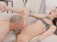 Caroline Mann : Cutie turns into a kitty to please an older man : sex scene #10
