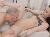 Caroline Mann : Cutie turns into a kitty to please an older man : sex scene #11