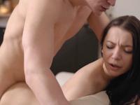 Emily Bender : Sweet brunette surrenders to her excited boyfriend in kitchen : sex scene #10