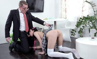 Jody played with her pussy while her tricky old teacher was sucking her tits