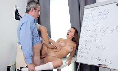 Nataly let's tricky old teacher play with her nice littles tits before fucking her.