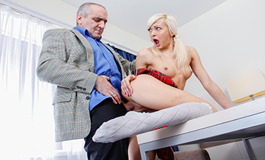 Gorgeous blondie makes old teacher focus on her.