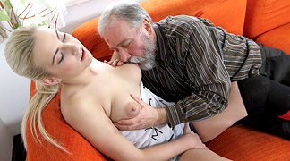 Old man sucking tits