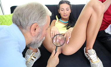 Spoiled virgins member Simona masturbates confidently with two guys looking on before losing her virginity