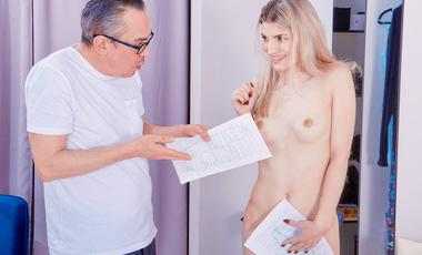 Sweet blonde tells her grey-haired stepdad to go wild